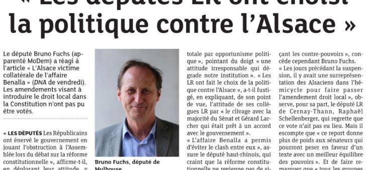 Les députés LR ont choisi la politique contre l'Alsace
